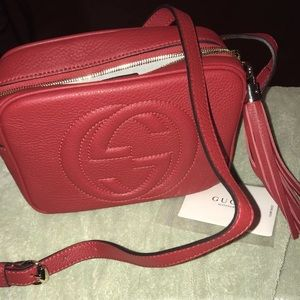 Red Gucci Soho Disco Bag Women's